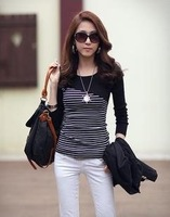 free shipping! women's slim color block decoration  o-neck  long sleeve stripe T-shirt basic shirt  3 color H1
