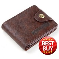 Free Shipping 2012 Fashion Men's Cowhide wallet male short design Genuine Leather wallet Dark Brown