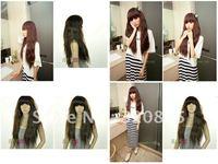 Is black hair female wig long roll fleeciness heavy heavy fluffy cute girls together broken bang lady's wig ringlet