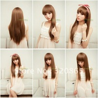 Is black hair girl wig long straight fluffy cute long wigs neat bang long hair straight hair female wig