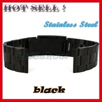 New 18mm 20mm 22mm Black Solid Stainless Steel Band Bracelets Watch Strap SS10