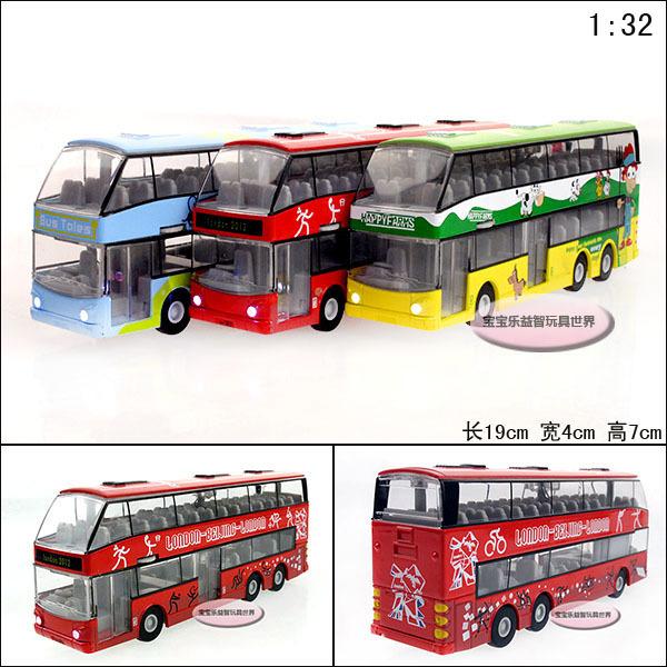 Luxury tourist bus exquisite alloy acoustooptical alloy car model