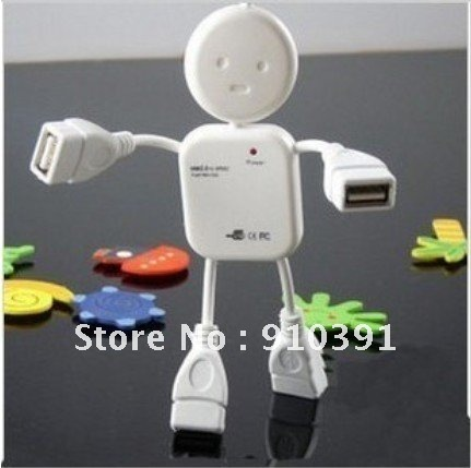 Free shipping Retail pack white HI-SPEED USB 2.0 4 port USB HUB,human shape/battroid USB HUB,multi port HUB as PC accessory.(China (Mainland))