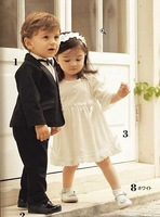 Baby Boy Black Suit + White Dress Skirt + Black Bow Tie for 2~5Y Retail free shipping