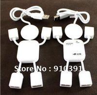 Free ship/EMS,Retail pack white HI-SPEED USB 2.0 4 port USB HUB,human shape/battroid USB HUB,multi port HUB as PC accessory.