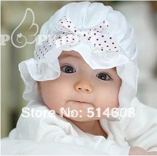 [해외]104 Bonnet silk satin baby princess bow sun hat baby ..