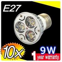 2014 On sales 10pcs DHL FREE E27 E26 9W CREE LED SpotLight Bulbs Lamp Warm white 85-265V downlights 3X3W