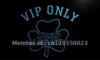 LA809-TM VIP Only Bud Shamrock Neon Light Sign Advertising
