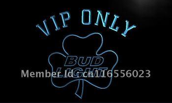 LA809- VIP Only Bud Shamrock Neon Light Sign    hang sign home decor shop crafts led sign