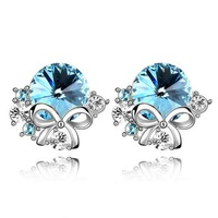 Free shipping wholesale / retail Korean version lovely fashion earrings bow-Crystal earrings - Vienna sad 4370
