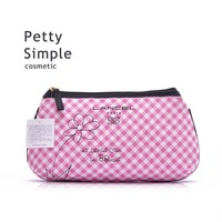 Free Shipping, 10pcs/Lot,  Pink and White Checked Cosmetic Bag, Cotton Bag for Women and Lady