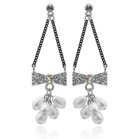 Free shipping wholesale / retail Korean bow pearl earrings earrings - no longer contact 2878-52