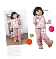 girls children thick vest sets fleece coat fit 1-6yrs baby kids  cartoon rabbit sleeveless outerwear + pant sets clothing