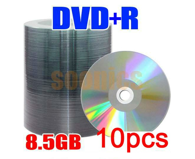 10pcs/lot 8.5G Blank Discs Recordable Printable DL DVD-R DVD+R DVDR Disc Disk 8.5GB Free Shipping & Drop Shipping(China (Mainland))