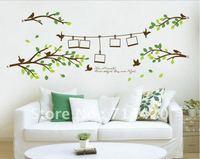 60*90cm Photo Frame Tree Birds Words Art Mural Removable Wall Vinyl Sticker Wall Decal