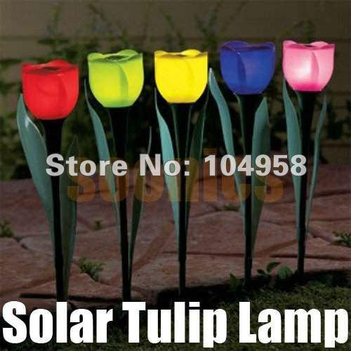 Free Shipping 4pcs/lot Outdoor Yard Garden Path Way Solar Power LED Tulip Landscape Flower Lamp Lights(China (Mainland))