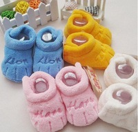 Winter baby soft bottom to  toddlers baby shoes coral fleece warm shoes fit for 0-1 year baby 11cm  free shipping