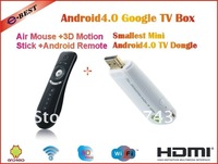 Mini PC,Mini Android 4.0 dongle,Android IPTV,Google TV Box+2.4G Seneor Remote, Fly Air Mouse Wireless Keyboard T2