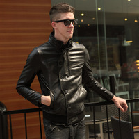 Men motorcycle leather clothing outerwear long sleeve  design fashion male slim casual leather jacket