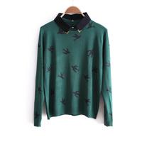 2014 autumn sweet swallow bird print the disassemblability false collar slim sweater wx1005