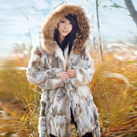 (In Stock)Promotion Ladies Fur Coats Winter Long Design Overcoat Hoodie Fur Garment/Clothing Supply For Women,Free Shipping