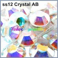 Free Shipping! 1440pcs/Lot, ss12 (3.0-3.2mm) Crystal AB Flat Back Nail Art Non Hotfix Rhinestones