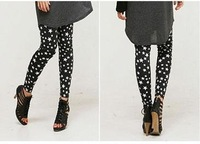 2012 Autumn Elastic Stars Printing Leggings Fashion Lady's Ninth Pants Free Shipping/10 pcs