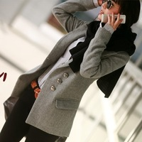 free shipping 2012 autumn and winter women plus size turn-down collar one button wool coat long-sleeve woolen suit jacket