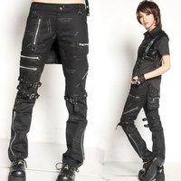 Glp unique zipper decoration punk pants steel buckle bandage punk gothic trousers 71204