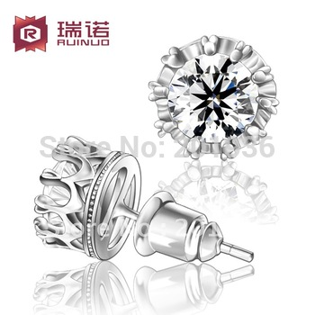 Free shipping,Fancy single 925 pure silver earring,cubic zircon,crown stud earring,women/men,boy/girl accessorie Lovers' gift