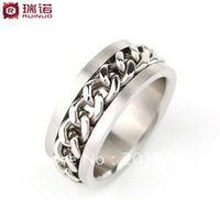 Free shipping Fashion Man ring popular  titanium steel finger ring accessories especial inlay chain Gift