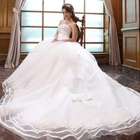 2013  New Arrival Bandage tube top princess luxury big train lace Wedding dress 2013 Wedding gown