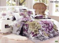 New Beautiful 4PC 100% Cotton Comforter Duvet Doona Cover Sets FULL / QUEEN / KING SIZE bedding set 4pcs PURPLE GREEN FLOWER