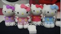 Christmas Gift Hello Kitty USB Flash Drive Real 1GB 2GB 4GB 8GB 16GB 32GB 64GB Cute Cartoon Style OEM USB stick Free Shipping