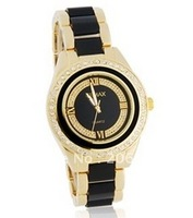 New Gemax Women's Analog Wactch with Crystal Bezel & Metal Strap (black+Gold) women's watch.free shipping