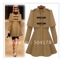 Lady Coat 2012 Fashion Slim Waist Poncho Overcoat Ladies Wool Coat Outerwear Ruffles Trench Coat For Women Free Shopping