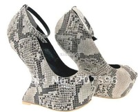 2012 new style women's shoes snakeskin peeptoe women's wedging platform shoes Party shoes