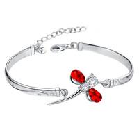 925 pure silver platier RED DRAGONFLY pure silver bracelet women's bracelet pure silver jewelry
