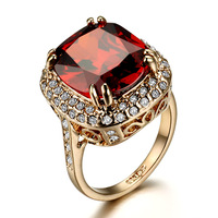 free shipping 6karat ruby crystal ring cubic zircon stone much luxury than silver ring high class for women gift female ka217