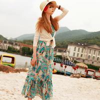 FREE SHIPPING  bohemia beach tantalising ruffle ultra long chiffon one-piece dress