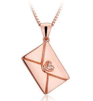 Hot New 18K Rose Gold Plated Sterling Silver Letter Envelope Charm Pendant Necklace JM0384