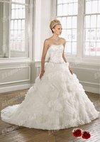 New Listing 2012 Elegant White Sweetheart Ball Gown Sleeveless Beaded Sash Court Train Organza Bridal Wedding Dress