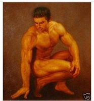 Charming nude Oil on canvas numbered Giclee Painting: Gay Interest 24x36 100% Free shipping J98