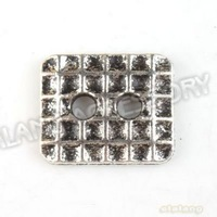 Hot 120pcs/lot Alloy Square Two Holes Shape Antique Silver Plated Button Fit Sewing Supplies Garment Accessories Buttons 160755