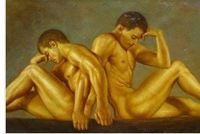 Charming nude Oil on canvas numbered Giclee Painting: Gay Interest 24x36 100% Free shipping h-57
