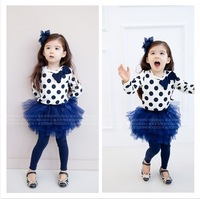 Hot sale New 2 colors 5set /lot 2012 Girls cute t-shirt+short dress + Free shipping