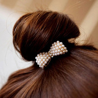 meatball head ! sweet all-match small pearl bow headband hair rope 12pcs/lot NTB019