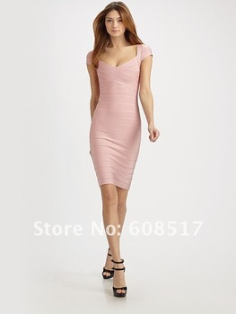2012 New arrival Noble sexy short sleeve Bandage dress Evening Dresses for women