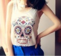 FH-070 fashion Women 2012 skull skeleton cartoon punk style star like vest tops T-shirt Free Shipping can Drop Shipping