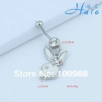 BJ00602!Free Shipping!10PC/Lot!!Fashion Stainless Steel Rhinestone Enamel Rabbit Belly Bars